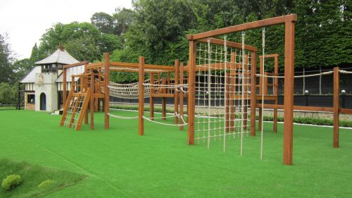 Overall View Miniature Play Village With Two Playhouses Wendy House And Climing Apparatus Playground