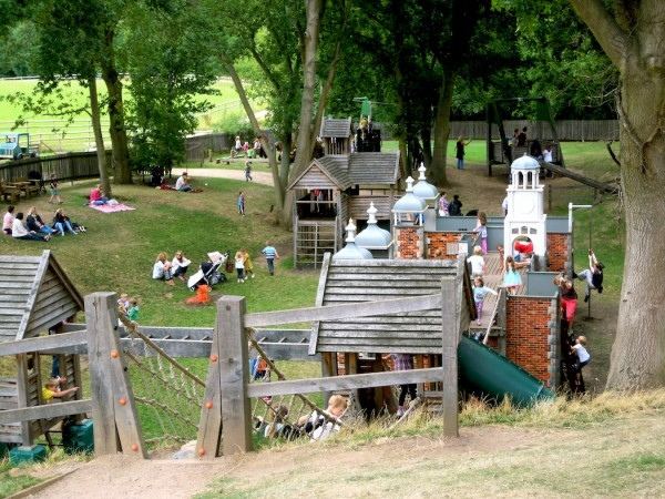 Overview Hatfield House Childrens Outdoor Wooden Play Area Full Of Kids