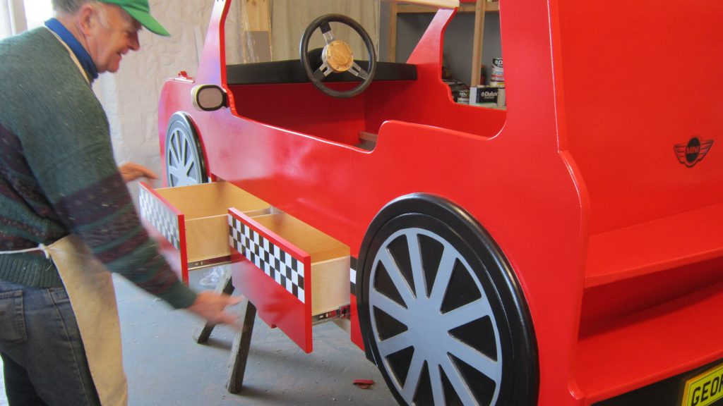 Painted Drawers Mini Cooper Bed Car Themed Red