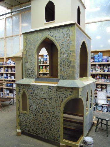 Painting Barton Bendish Church Play Area Miniature Replica