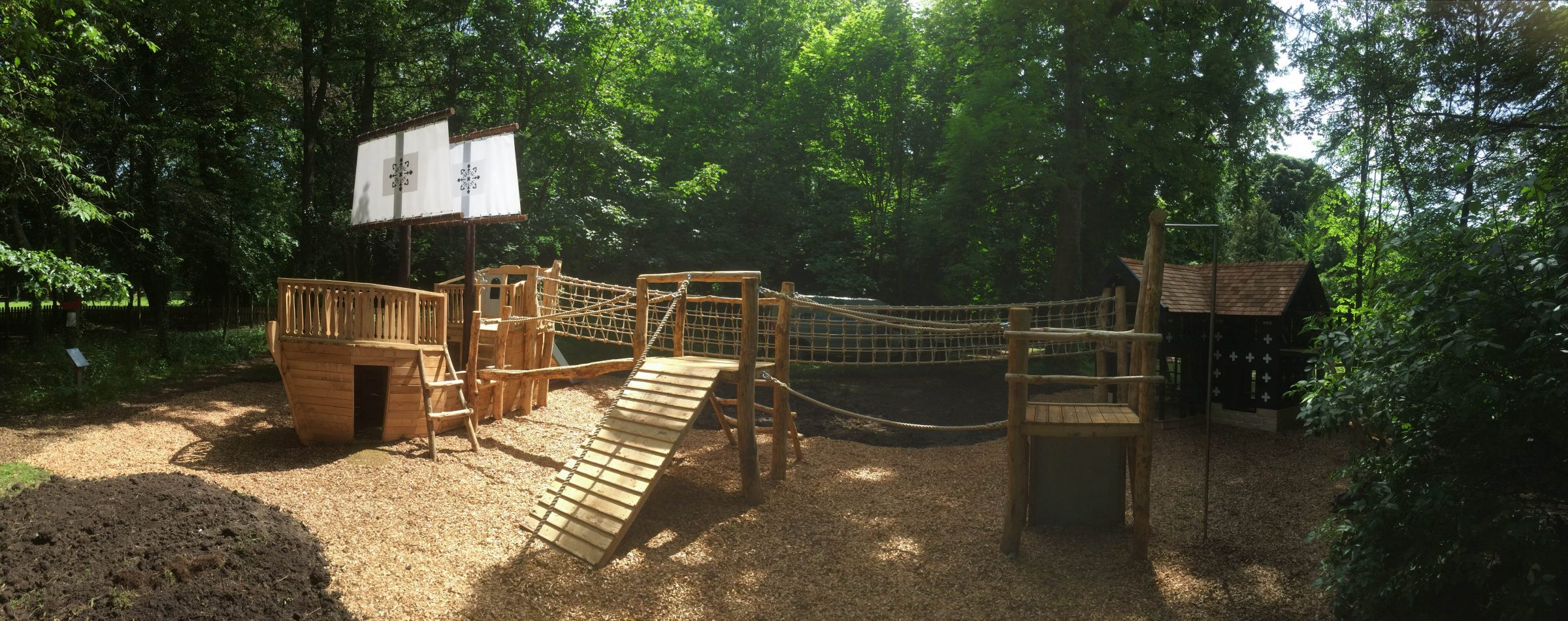 Panorama Of Play Area Samlesbury Hall Childrens Outdoor Play Area With Replica Landmark And The Mayflower Play Ship By Flights Of Fantasy