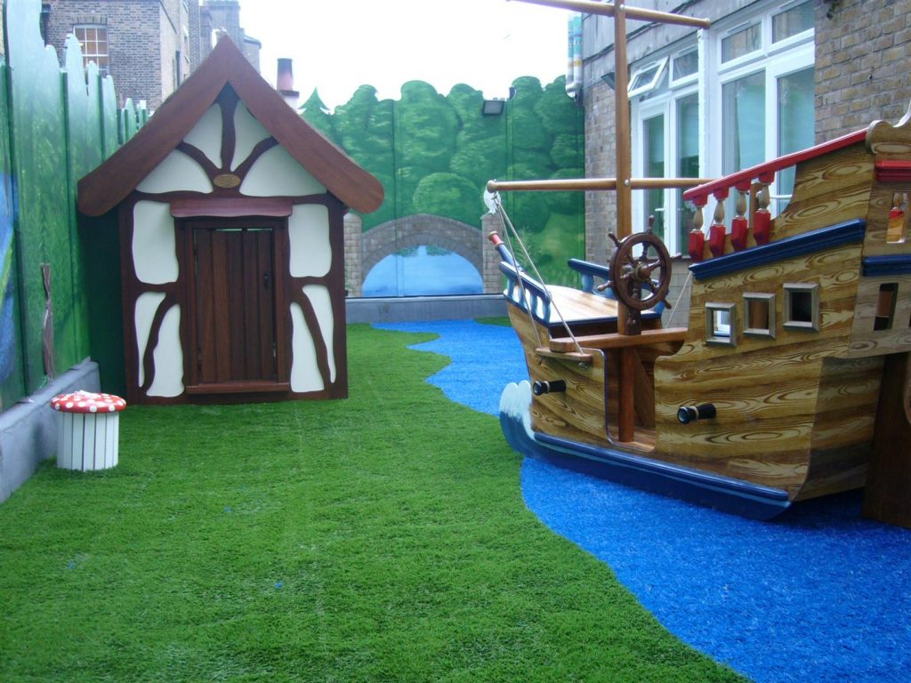 Pirate Ship And Tudor Cottage Playhouse Harley Street Clinic Rooftop Play Area Hospital Playground