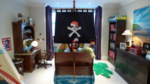 Pirate Bed With Jolly Roger Childrens Pirate Bedroom Themed Interior 2