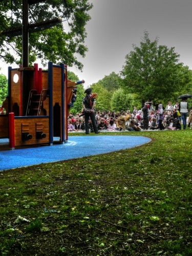 Pirate Opening Langton Green School Wooden Pirate Ship Play Area With Disabled Access