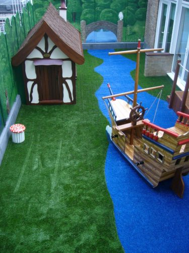 Playhouse and Miniature Pirate Ship Aerial Harley Street Clinic Rooftop Play Area Hospital Playground