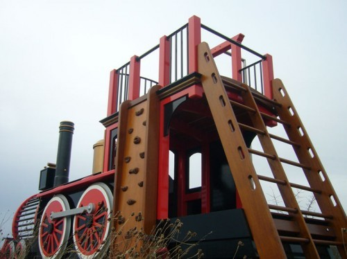 Rear Left View Pacific Locomotive Childrens Play Train With Climb Wall Slide Pole And Ladder