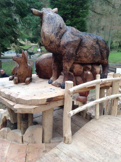 Rear View Of Deer Family Wooden Sculpture Carving By Flights Of Fantasy