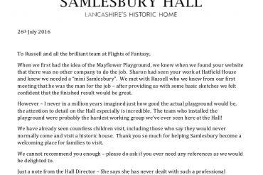 Samlesbury Hall Testimonial for Flights of Fantasy
