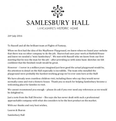 Samlesbury Hall Testimonial for Flights of Fantasy