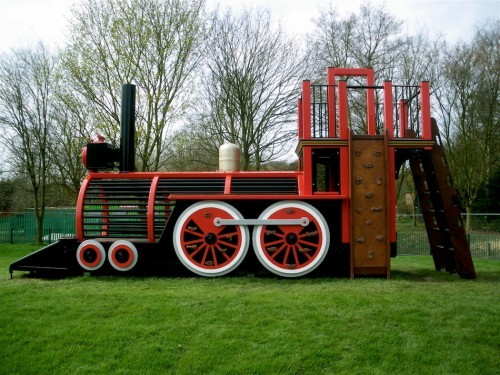Side Profile Runcorn Play Train Centrepiece Outdoor Play Area