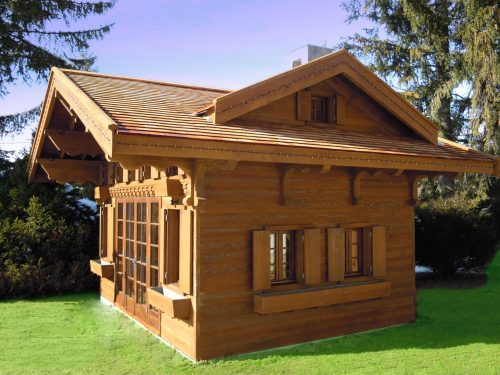 Side View Swiss Chalet Miniature Replica Copy Childrens Wooden Play House Playhouse Fully Furnished