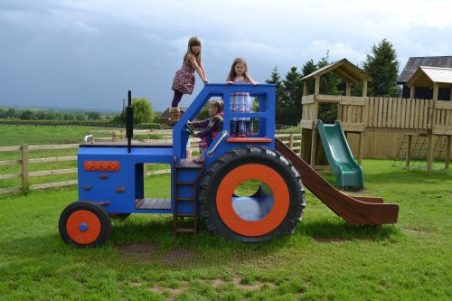 Side Profile With Kids Childrens Blue Wooden Tractor With Slide 1