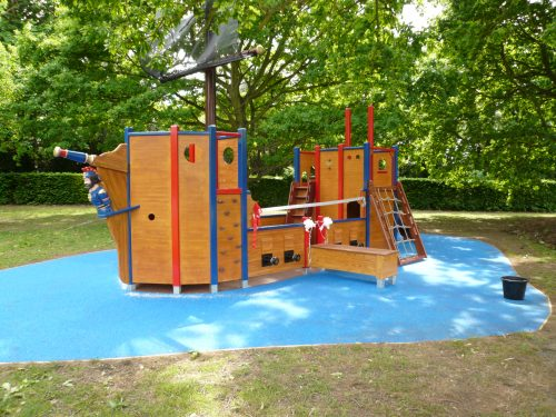 Side view (Langton Green school wooden pirate ship play area with disabled access)