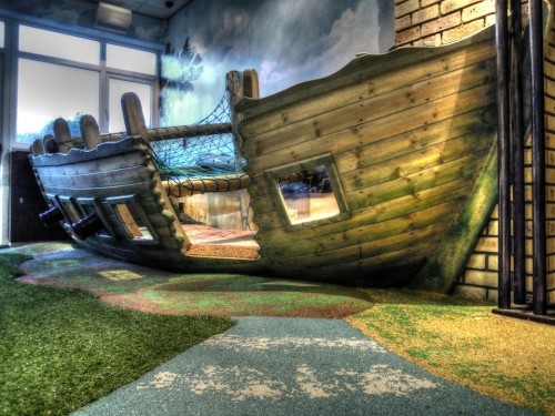 Sinking Boat Smugglers Bar And Grill Restaurant Indoor Childrens Play Area Pirate Themed With Climbing Ropes And Slide
