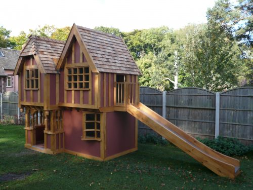 Slide View Little Lodge Childrens Playhouse Wendy House Miniature Replica