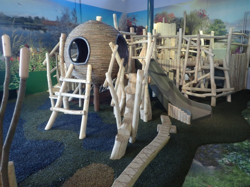 Slide And Wooden Climbing Equipment Whisby Natural World Indoor Play Area Natural Themed With Wall Mural 06