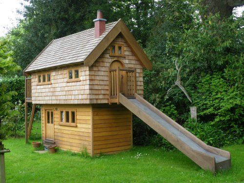 Slide Exit Walnut Cottage Two Storey Custom Built Wooden Play House Playhouse With Shingle Roof 1