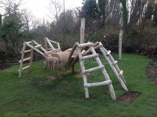 Spider Climb Animal Wood Animal Themed Outdoor Play Area With Animal Carvings At Castlewellan Forest Park Northern Ireland