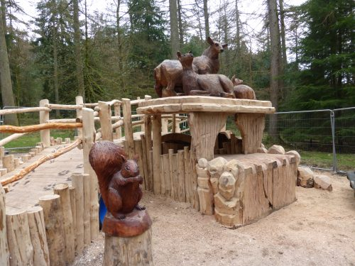 Squirrel and Deer Family – Gortin Glen Forest Park Wooden Sculptures and Animal Carvings by Flights of Fantasy