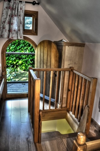 Step Entrance First Floor Walnut Cottage Two Storey Custom Built Wooden Play House Playhouse With Shingle Roof