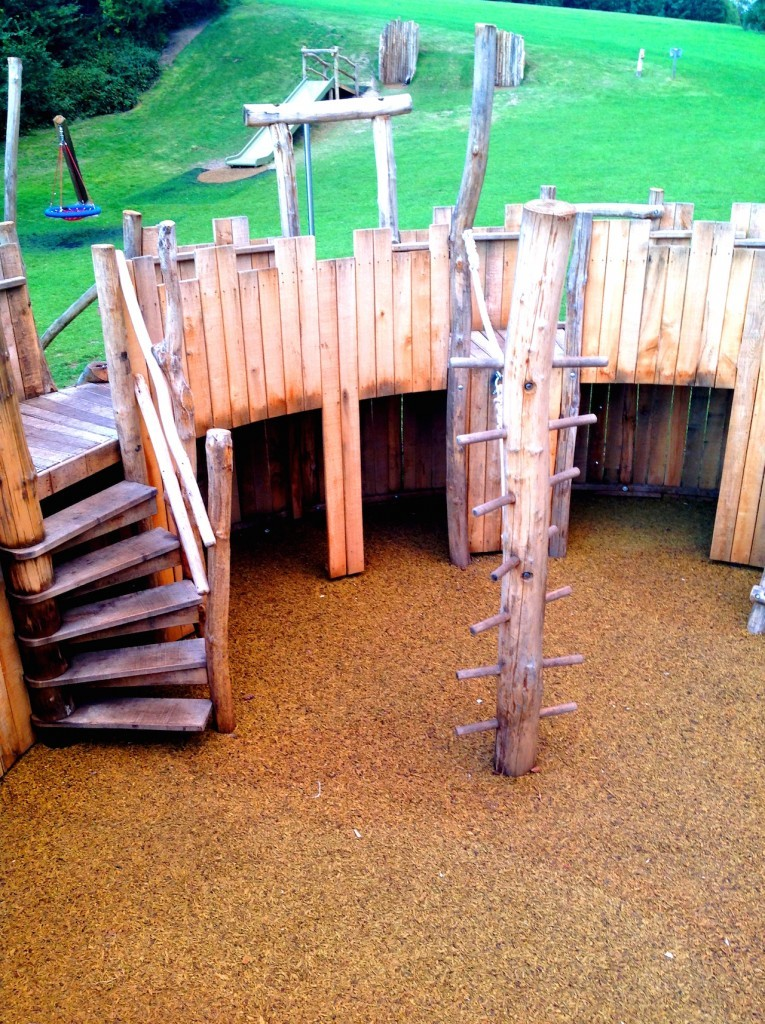 Steps and Climbing Pole - Farnham Park Rustic Outdoor Play Area 12