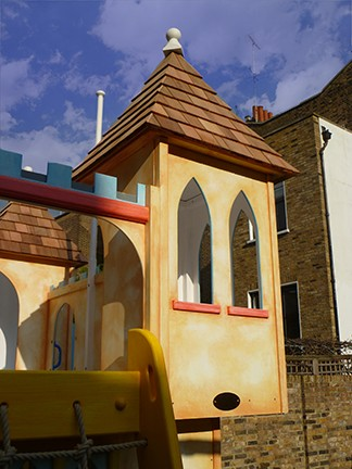 Turret Water Slide Castle Childrens Private Playhouse