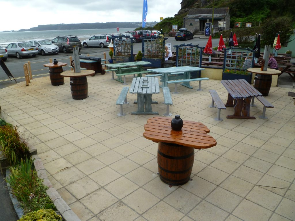 View Over Water Smugglers Bar And Grill Amroth Pirate Themed Seating And Benches