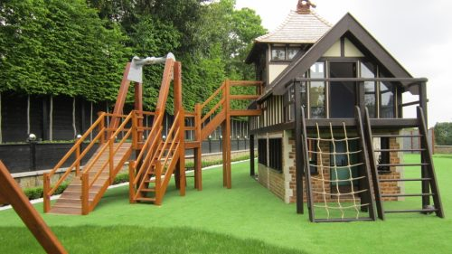 Walkway Miniature Play Village With Two Playhouses Wendy House And Climing Apparatus Playground
