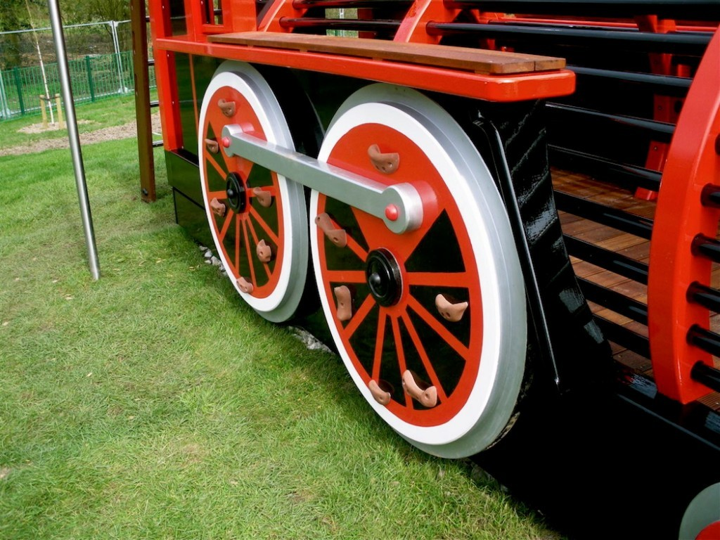 Wheels Close Up Runcorn Play Train Centrepiece Outdoor Play Area
