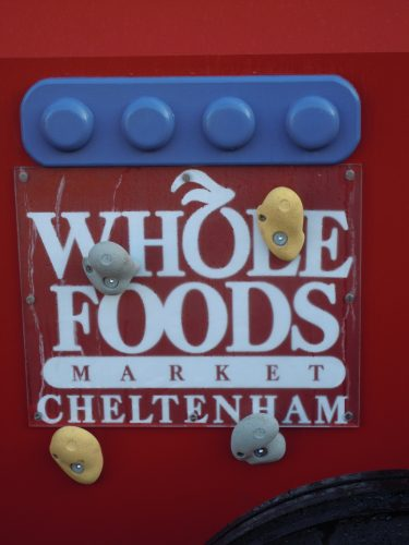 Whole Foods Market Cheltenham sign (Whole Foods wooden play tractor tractor with slide)