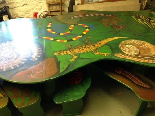 Painted Jungle Party Room Table