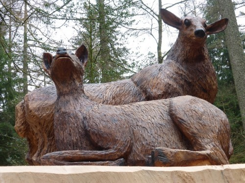 Wooden Deer Family Sculpture After Carving