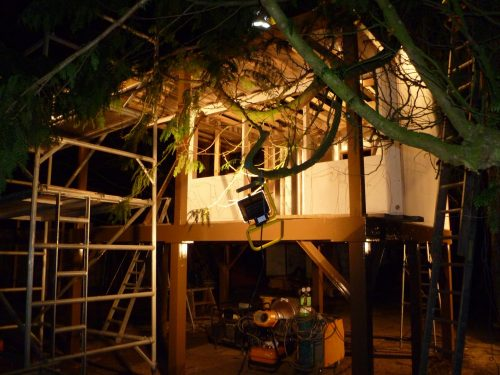 Working Under Lights Pinewood Hideaway Custom Built Bespoke Treehouse Playhouse