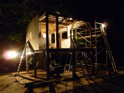 Working At Night Pinewood Hideaway Custom Built Bespoke Treehouse Playhouse