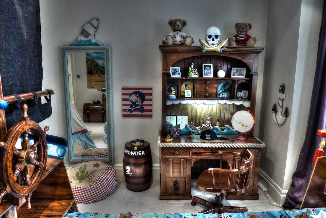 Writing desk and mirror (Children's pirate bedroom themed interior)