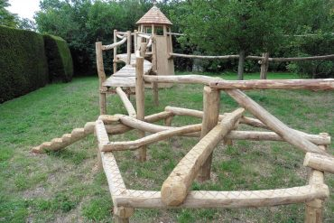 balance games in rustic garden adventure trail