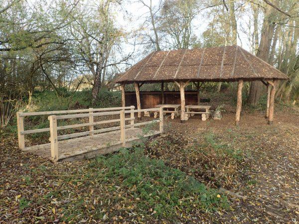 bridge to picnic shelter