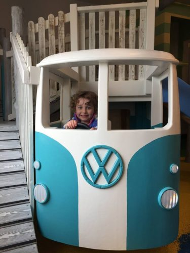 child in vw at little kings indoor play area