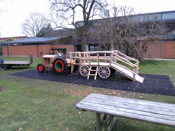 installing tractor for museum of english rural life