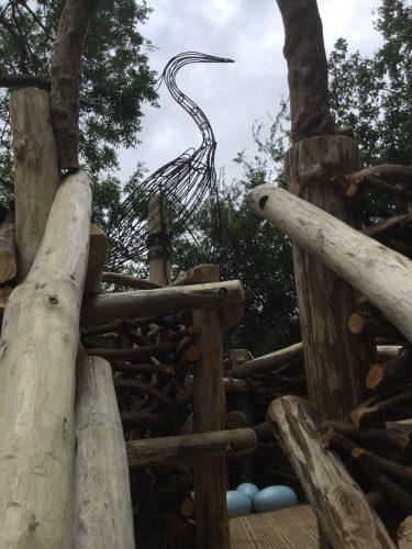 metal heron sculpture rushden lakes play area