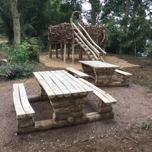 picnic benches and herons nest