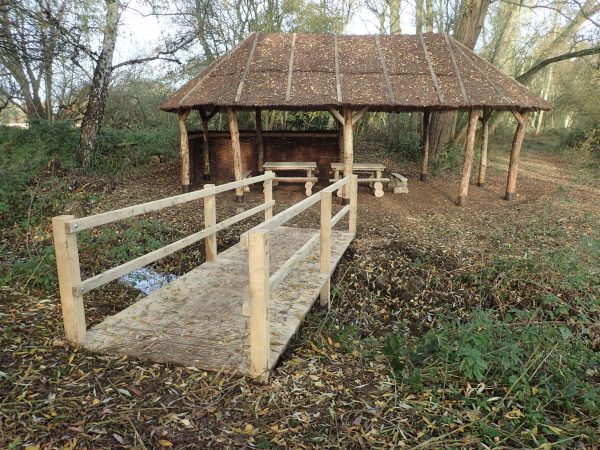 picninc hut and boardwalk bridge