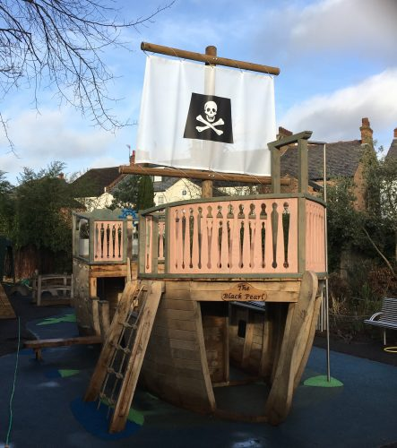 the black pearl pirate ship at mapesbury dell front