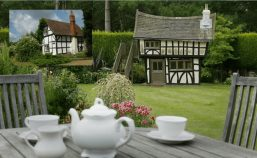 tudor cottage miniature playhouse replica