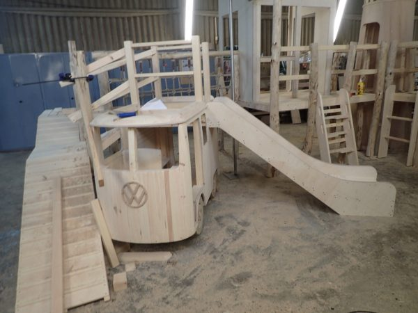 vw slide for little kings indoor play area wip